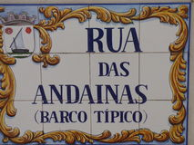 Tiled Portuguese street sign. Royalty Free Stock Images