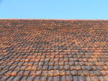 Tiled roof,. Old Tiled roof and blue sky stock images