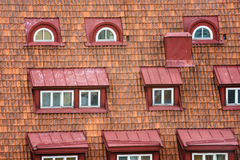 Tiled roof with attic windows Stock Photos