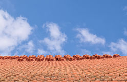 Tiled roof and blue sky Royalty Free Stock Images