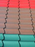 Tiled roof covered with color tile, tiled, Stock Photo