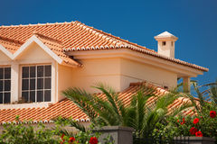 Tiled roof of a large house Royalty Free Stock Image