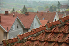 Tiled roof and line of houses Stock Photography