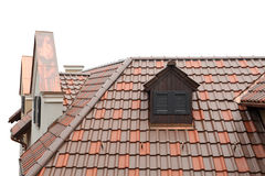 Tiled roof of old-fashioned house isolated Stock Photography