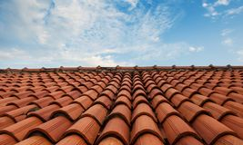 A tiled roof and the sky Stock Photo