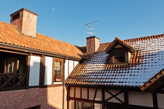 Tiled roof with snow Stock Photography