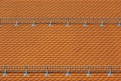 Tiled Roof with Snow Guards Royalty Free Stock Photos