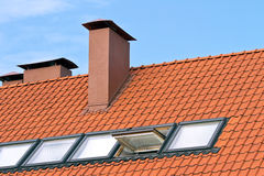 Tiled roof with a windows Royalty Free Stock Image