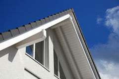 Tiled roof and windows Stock Photo
