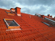 Tiled roof with windows Royalty Free Stock Images