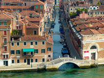 Tiled Roofline of Venice homes along Grand Canal Stock Photos