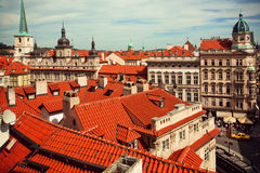 Tiled roofs of ancient houses in the heart of historical city Royalty Free Stock Images