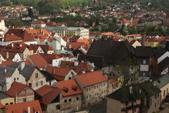 Tiled roofs in Cesky Krumlov, Czech Republic. Royalty Free Stock Photography