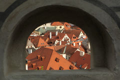 Tiled roofs in Cesky Krumlov, South Bohemia, Czech Republic. Royalty Free Stock Photography