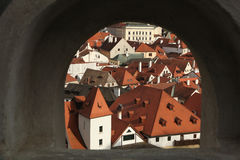 Tiled roofs in Cesky Krumlov, South Bohemia, Czech Republic. Royalty Free Stock Photo