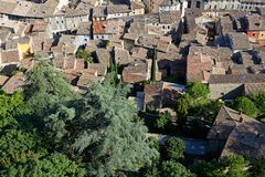 The tiled roofs of the city of Crest. A city of Drome in South of France royalty free stock images