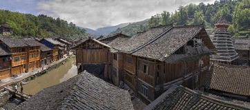 Tiled roofs Dong peoples village houses, Zhaoxing, Guizhou Provi Royalty Free Stock Images