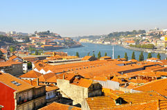 Tiled roofs on Duoro River,Oporto Stock Photo