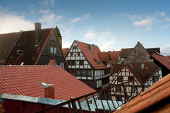 Tiled roofs of half-timbered houses, Germany Royalty Free Stock Images