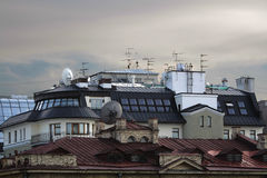 Tiled roofs of houses Royalty Free Stock Photo