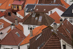 Tiled roofs. On houses in Bergen, Norway Stock Images