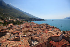 Tiled roofs of Malcesine Stock Images