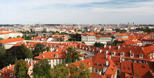 Tiled Roofs Of Old Houses in Prague Royalty Free Stock Photography