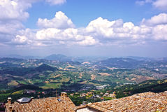 Tiled roofs and panorama of San Marino, Italy Royalty Free Stock Images
