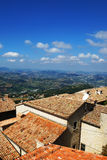 Tiled roofs and panorama.vid from the walls. San Marino Stock Photos