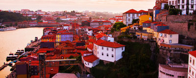 Tiled roofs in Porto. The Douro River. Summer city landscape. Stock Photography
