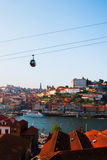 Tiled roofs in Porto. The Douro River. Summer city landscape. Royalty Free Stock Photography