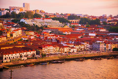 Tiled roofs in Porto. The Douro River. Summer city landscape. Stock Photo