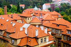 Tiled Roofs in Prague Royalty Free Stock Images
