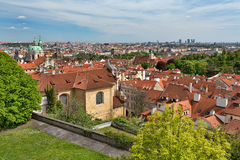 Tiled roofs of Prague, view of the city Royalty Free Stock Photos