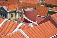 Tiled roofs of the residential houses in Alfama. Lisbon. Portuga Stock Images