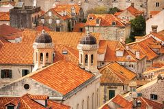 The Tiled Roofs of Dubrovnik. Tiled roofs seldom tell such a vivid story as they do in Dubrovnik, Croatia.  Stories of war.  Stories of reconstruction.  The war Stock Images