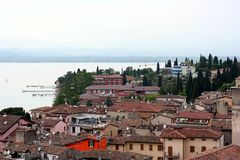 Tiled roofs of Sirmione near lake Royalty Free Stock Photos