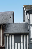 Tiled roofs of typical Norman houses, Normandy, France Stock Image
