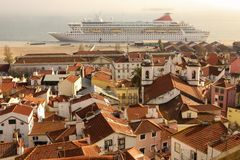 Tiled roofs. View over Alfama quarter. Lisbon . Portugal Stock Photography