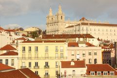 Tiled roofs. View over Alfama quarter. Lisbon . Portugal Royalty Free Stock Images