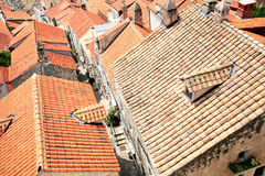 Tiled rooftops of old town. Royalty Free Stock Photos