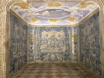 Tiled Room in the Palácio Nacional de Sintra, in the hills above Lisbon, Portugal. The Sintra National Palace, also called Town Palace is located in the town stock photography