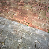 Tiled square and stone steps Royalty Free Stock Photography