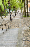 Tiled steps butte walk up to top of Basilica Sacre Coeur Sacred Royalty Free Stock Images