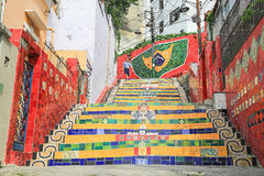 Tiled Steps at lapa in Rio de Janeiro Brazil Stock Images