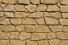 Tiled Stonewall From Flagstone And Limestone Rocks, Background T Royalty Free Stock Image