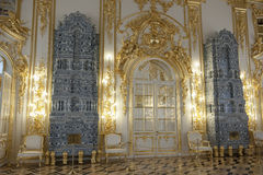 Tiled Stoves in Catherine Palace, St. Petersburg. Tall tiled stoves in Catherine Palace, St. Petersburg Stock Image