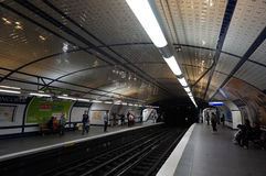 Tiled Subway Stop. Photo tiled subway stop in paris france on 9/6/14.  The subway covers the entire city Royalty Free Stock Photo