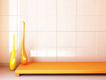 Tiled wall. The white tiled wall, the part of modern interior Royalty Free Stock Images