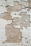 Tiled wall. Ceramic mosaic tiles white background stock photography